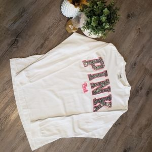 VS PINK | White Sequin Long Sleeve Cotton XS
